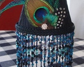 Peacock Black Beaded Fringe Lamp Shade - Chandelier or Candle Stick Shade - Lamp Shade Only
