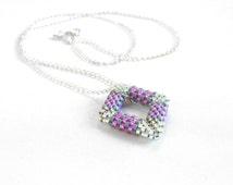 Dainty Geometric Necklace, Pink and Grey Jewelry, Open Diamond Shape, Beaded Rhombus Necklace, Beadwoven Diamond Peyote - Made in Germany