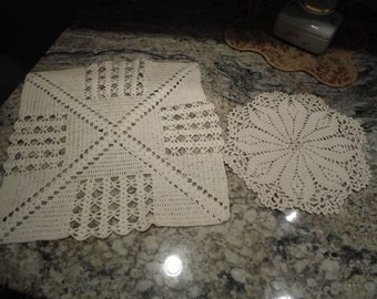 2 Heavy Weight White Cotton Hand Crocheted Doilies