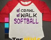Softball Kids Raglan Personalized Printed Tshirt, 3/4 sleeve, baseball shirt, crawl walk shirt, Toddler Raglan