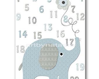 Blue and gray Baby Room Decor Elephant Nursery Numbers Nursery Art Baby Nursery Decor Baby Boy Nursery Print Kids Wall Art Kids Art