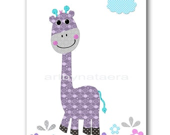 Baby Girl Nursery Art Print Nursery Print Kids Art Kids Wall Art Kids Rooom Decor Children Art Giraffe Nursery Rose lavender Nursery
