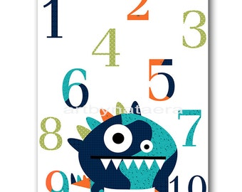 Monster Numbers Nursery Baby Nursery Decor Baby Boy Nursery Decor Kids Wall Art Kids Art Nursery art Print Nursery wall art Kids Print