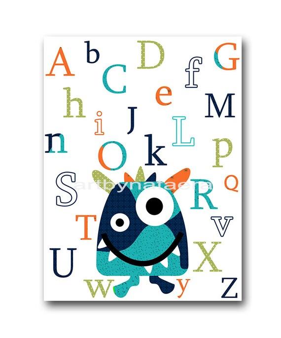 Monster alphabet nursery baby nursery decor baby boy nursery for Alphabet mural nursery