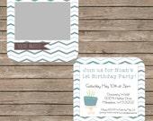 Blue Two Toned Chevron Photo Birthday Invitation Template - 5x5 inch