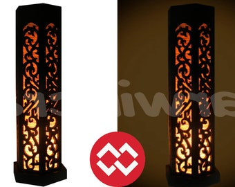 No Screw Design  17 '' Tall Asian Oriental Hexagon Carving Lamp Art Bedside Table Lamp Wood Light Shades Furniture Gift Living Bedroom Decor