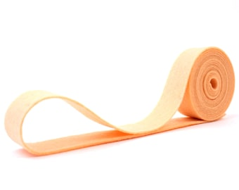 "100 Percent Wool Felt Ribbon in color APRICOT - 3/4"" X 2 Yards - Apricot Ribbon"