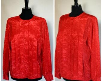 Vintage Red Blouse Shiny Design Pleats Cirage Size 14 1970s 1980s