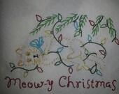 Flour sack Dishtowel - Meowy Christmas