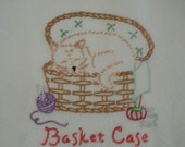 Flour sack Dishtowel - Hand Embroidered - Cat in a Sewing Basket