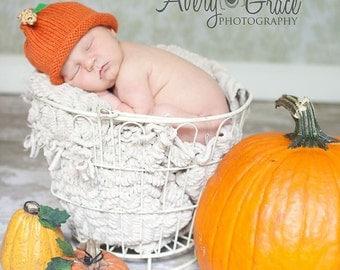 Pumpkin Hat Knitted Cotton Yarn 0-3 months Fall