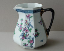 Art Deco Pitcher, Keeling Pitcher, Losol Ware Water Jug, Birds of Paradise, Pink flowers, Chartley pattern