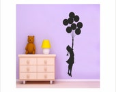 Girl with Balloons graffiti art by Banksy vinyl wall decal ideal for gil rooms and nursery large wall art removable decor (ID: 111045)