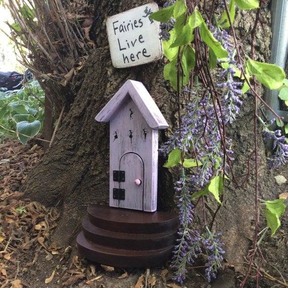 Items similar to fairy door purple fairy door fairies for Purple fairy door
