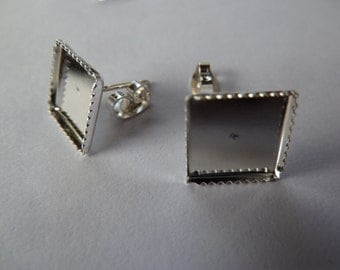10 x 12mm Square earring studs and backs - Silver plated