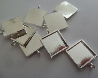 10 x 16m Silver plated SQUARE pendant trays