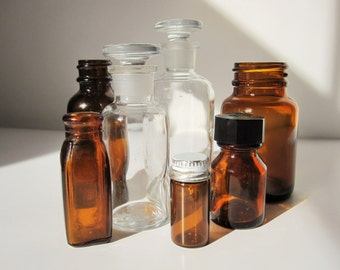 Great Selection of Clear Glass and Amber Brown Bottles From the 1900s - Tiny, Smaller and More - Medicinal Bottle - Glass Stopper - History