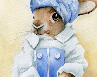 original watercolor painting scullery maid rabbit