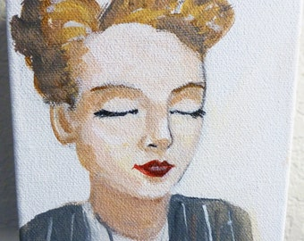 Dreamer, an original portrait painting of a beautiful vintage woman dreaming.