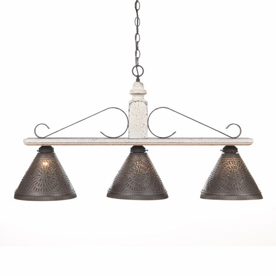 LARGE WOOD And Wrought Iron Bar Light Rustic By Savingshepherd