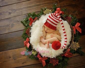 Pom Pom Christmas Hat – Baby Photo Prop Hat – Crochet Baby Elf Hat – Elf Hat Photo Prop – Crochet Baby Beanie – Family Photo Prop