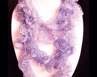 Handmade scarves: Ruffle Scarfs - Sashay scarf - lilac scarf - red scarf - lightweight - loop, Infinity scarfs - soft - crocheted by Wcards