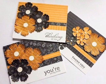 Hand made cards: greeting cards - Stampin Up cards - Flowers - grey - mustard yellow - Thank you - Thinking of you - handmade - Wcards