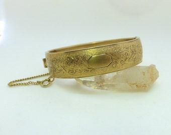 Vintage 1930's Victorian Revival Gold Engraved Floral Hinged Bangle