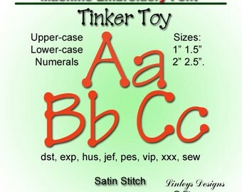 Download Machine Embroidery Alphabet: Tinker Toy  Font.