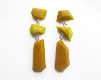 Statement Earrings, Mustard Yellow Earrings, Yellow Dangle Earrings, Mix and Match Earrings, Faceted Yellow Earrings, Geometric Earrings