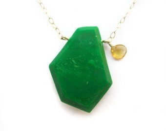 Modern green necklace with genuine citrine on sterling silver. Emerald green, genuine gemstone, sterling necklace. Modern handmade jewelry