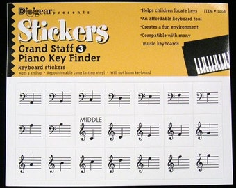 Grand Staff 3 (GS3) 3 Pack - Piano Keyboard Stickers Organ Key Finder Decal Label Music Notes