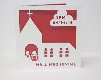 Church wedding papercut personalised card