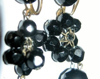 Black Crystal Dangles Stunning Dangling Black Crystal Earrings Brilliant Stunning Faceted Glass Crystal Dangle Earrings Screw Backs