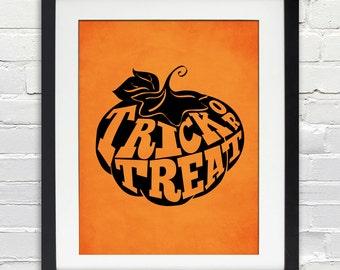 Trick or Treat Pumpkin Halloween Poster