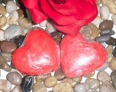 Red heart shaped glycerin soap; Valentines gift; Lavender scented spa soap; Moisturizing sandalwood soap; Vitamin E infused glycerin soap