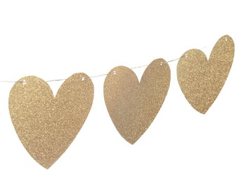 Gold Heart Garland -Gold Garland - Heart Garland - Gold Party Decor