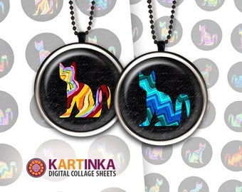 1 inch (25mm) 1.5 inch 20mm Printable CHEVRON CATS Digital Circles Download Images for Resin Pendants Bottle Caps Round bezel cabs Cabochons