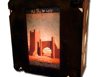 Moroccan Night Light Travel Poster repurposed & Finely Upcycled