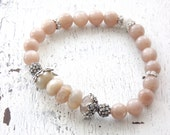 Moonstone bracelet peach moonstone stretch bracelet gemstone bracelet Bali silver bracelet boho stretch bracelet boho glam country chic