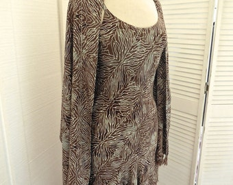Vintage 80s Batik Dress with Spaghetti Straps and Bias Cut Full Skirt with Matching Shawl Hippie Festival Indie
