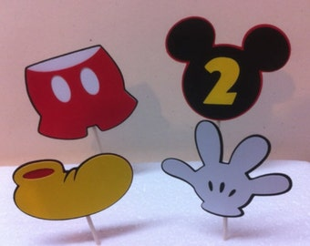 DIY- Set of 12 Mickey Mouse cupcake toppers