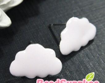 FN-EX-01001PP - Nickel Free, Puffy cloud earrings, pale pink, 2 pairs