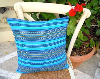 Traditional colorful woven cushion cover - Stripes design -Cotton synthetic textile, easy to wash, no ironing - Spring decor - Summer time