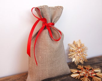 Set of 10 - LINEN GIFT BAGS, Linen Natural Gift Bags - Wedding Favor Bags, Christmas Bags