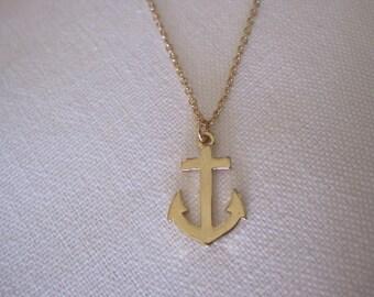Tiny Gold Anchor Necklace - Anchor Necklace