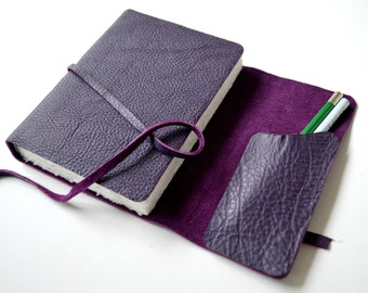 Custom Made to Order Purple Leather Bound Watercolor Journal Sleeve Pocket (373D)