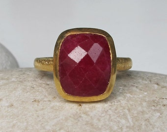 Faceted Rectangle Ruby Ring- July Birthstone Bezel Ring- Red Gemstone Gold Ring- Ruby Statement Solitaire Ring