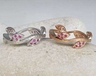 Brushed Leaf Wedding Band- Rose Gold Tree Branch Ring- Ruby Sapphire Twig Ring- Unique Birthstone Band Ring- Nature Inspired Band