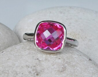 Hot Fuschia Pink Ring- Square Pink Quartz Ring- Faceted Pink Topaz Ring- Pink Silver Ring- Cushion Cut Stackable Ring- Classic Pink Ring
